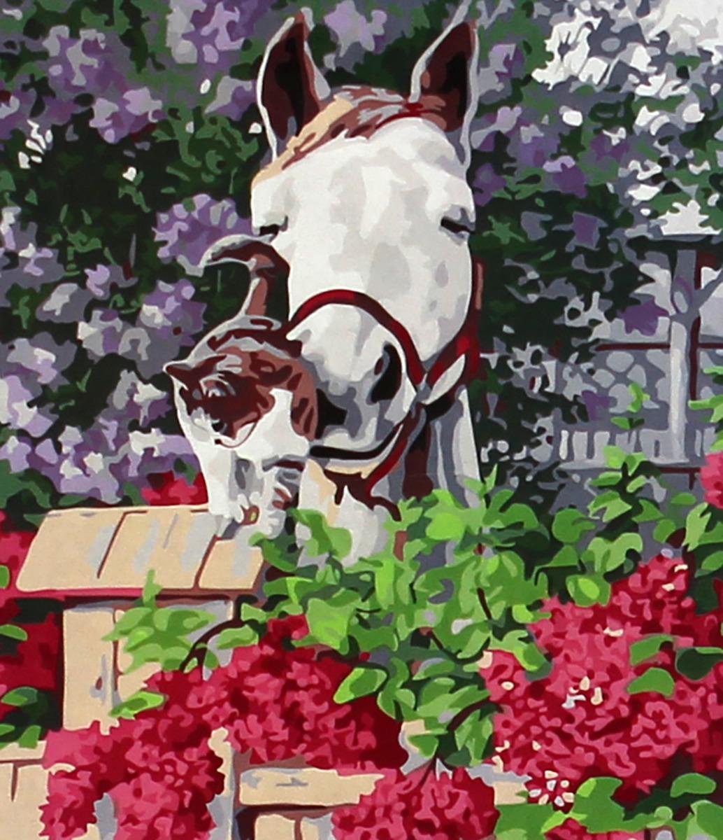 Фото - Набор для живописи Рыжий кот Лошадь и кот в цветах, 50 х 40 см набор для живописи рыжий кот лошадь и кот в цветах 50 х 40 см