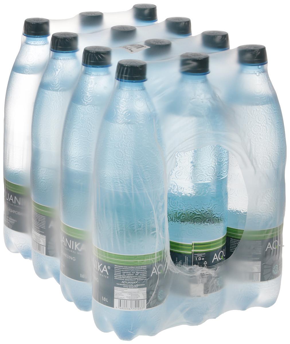 Вода Акваника высшей категории газированная, 12 шт по 1 л