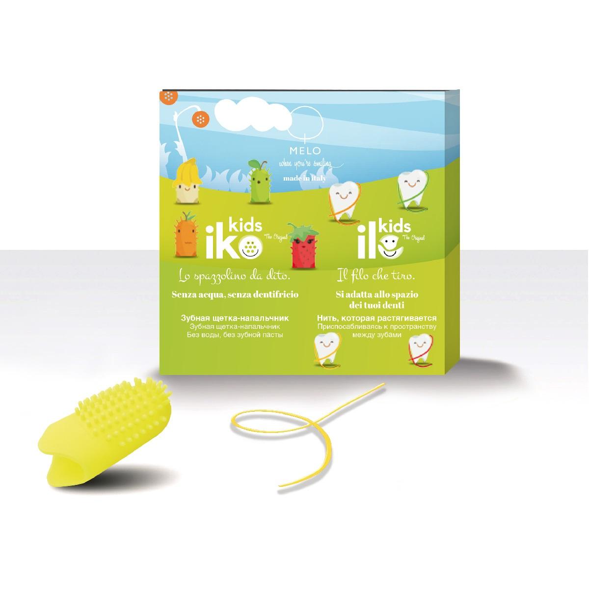 Зубная щетка MELO - When you're smiling антибактериальная фторирующая iKO Kids; зубная нить антибактериальная фторирующая iLO Kids; для детей, Банан