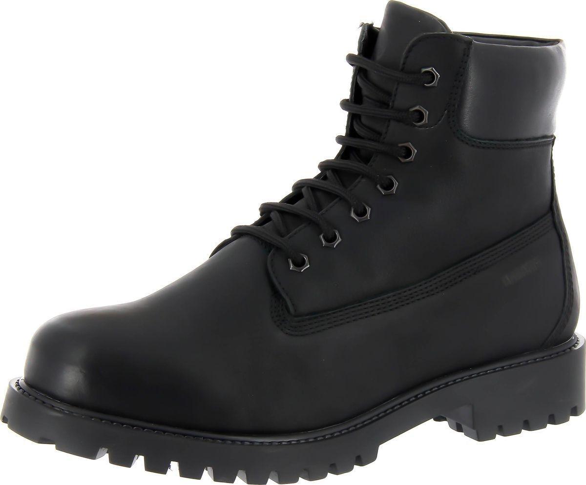 Ботинки мужские Ralf Ringer Aspen, цвет: черный. 460201ЧНР. Размер 41460201ЧНРСтильные мужские ботинки из натуральной кожи Aspen — идеальная обувь на меху для зимы. Они теплые, не промокают, не скользят, великолепно сидят на ноге. Особенность модели — классический дизайн рабочей обуви, шнуровка оригинальным шнурком, темная устойчивая подошва, специальный валик в верхней части берец. Служат основой для создания ярких образов. Идеально подходят к джинсам.