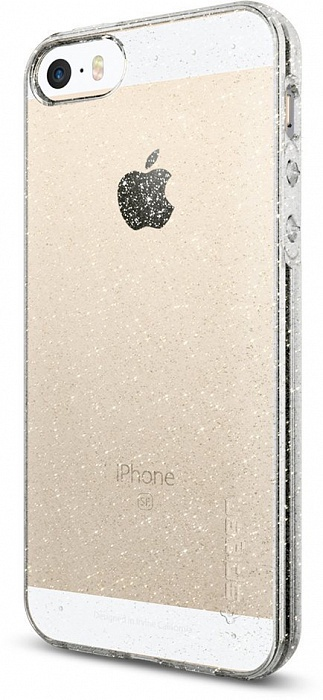 Чехол для сотового телефона SGP Liquid Air Glitter (041CS21959) для iPhone 5/5S/SE, прозрачный booratino деревянная накладка для iphone 5 5s орех