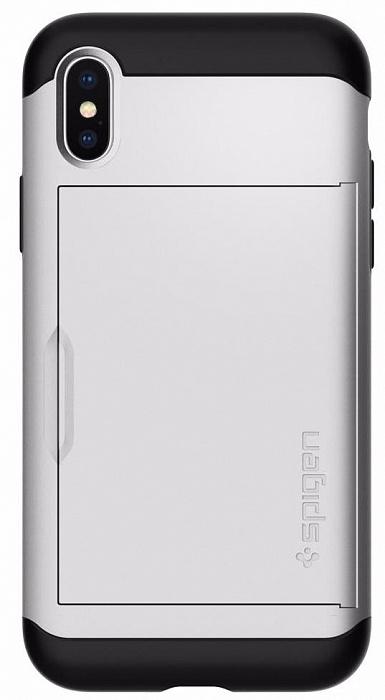 Чехол для сотового телефона SGP Slim Armor CS (057CS22158) для Apple iPhone X, серебристый стоимость
