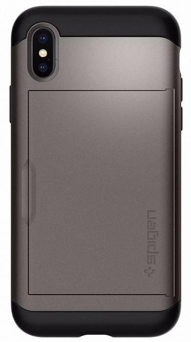 Чехол для сотового телефона SGP Slim Armor CS (057CS22156) для Apple iPhone X, серый стоимость