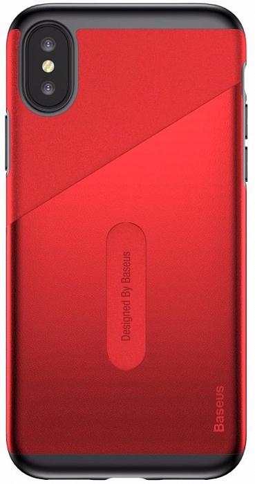 Чехол для сотового телефона Card Pocket Case (WIAPIPHX-KA09) для Apple iPhone X, красный flower print card case