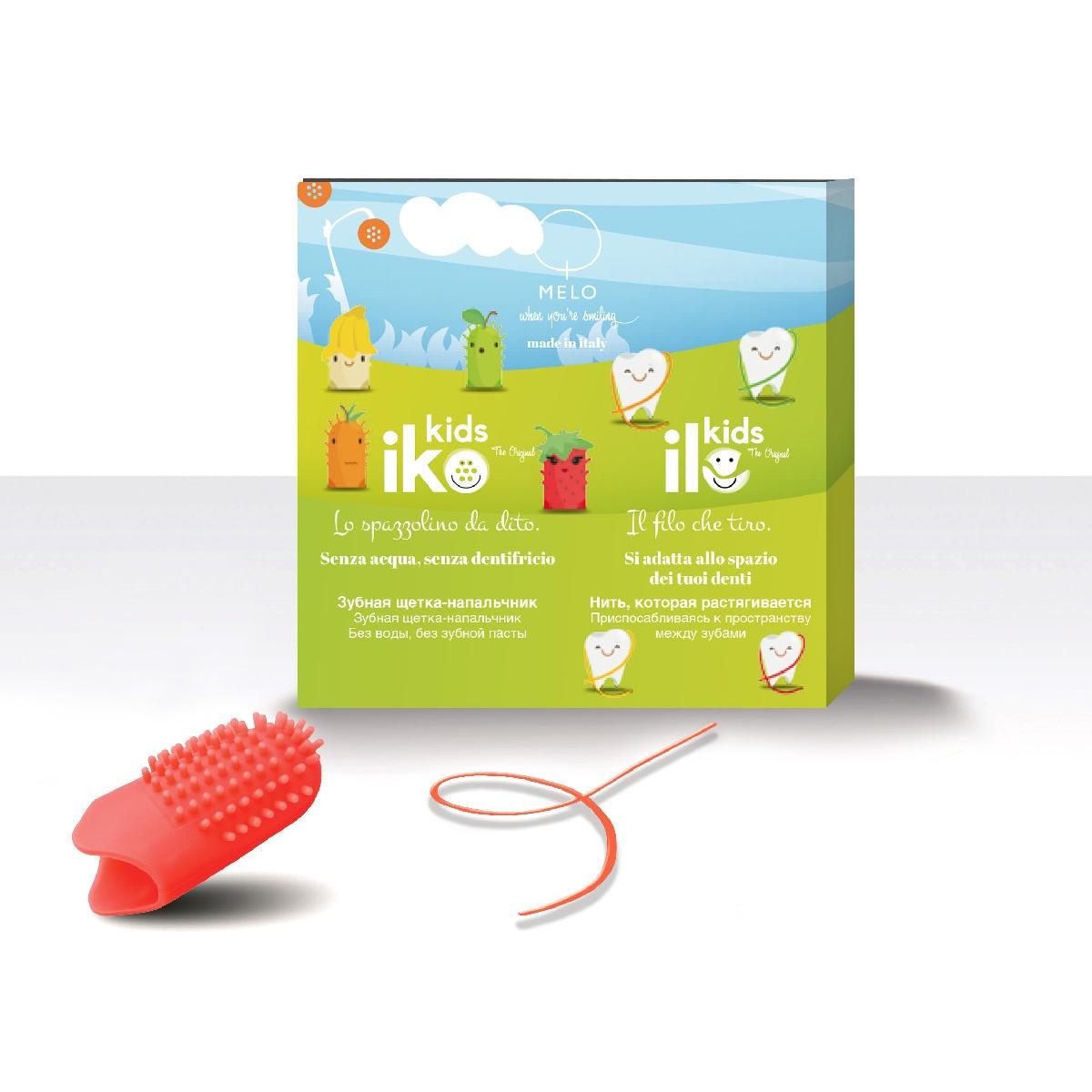 Зубная щетка MELO - When you're smiling антибактериальная фторирующая iKO Kids; зубная нить антибактериальная фторирующая iLO Kids; для детей, Клубника