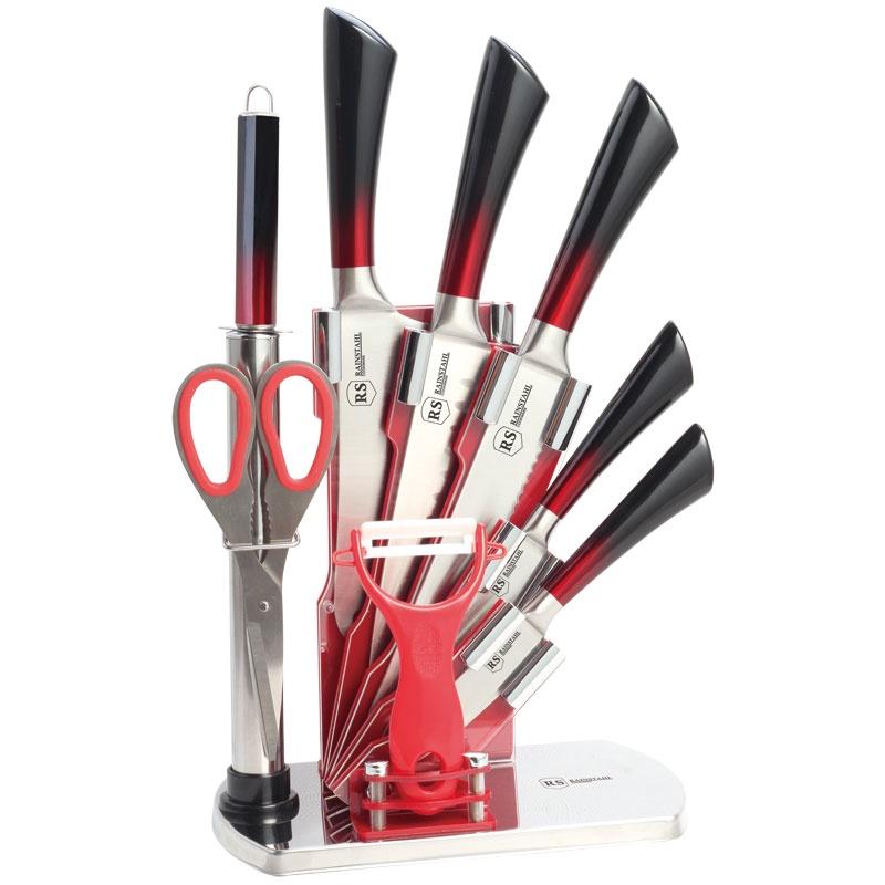 Набор кухонных ножей RAINSTAHL 8004-09, красный, черный sharpeners кухня точило системы профессиональных нож новый исправить угол ножницы