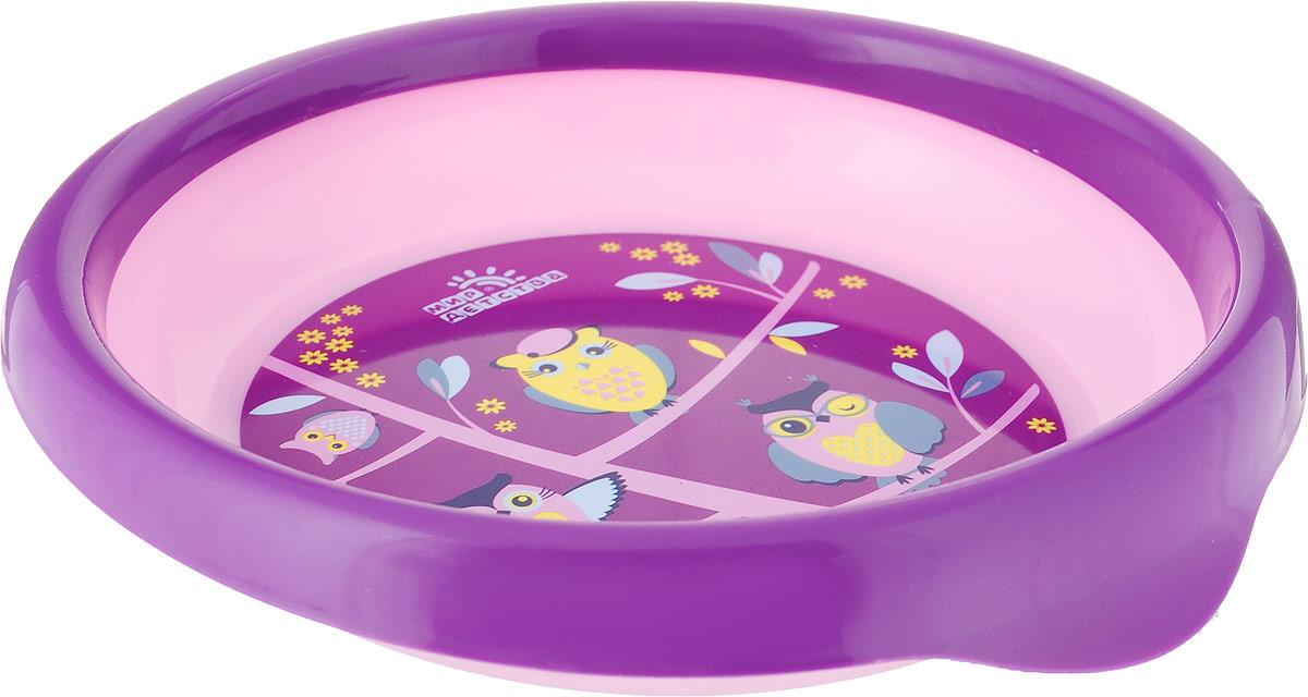 Тарелка детская Мир Детства Совы и еноты, для вторых блюд, 17370, розовый, фиолетовый мир детства контейнер для прикорма цвет розовый фиолетовый