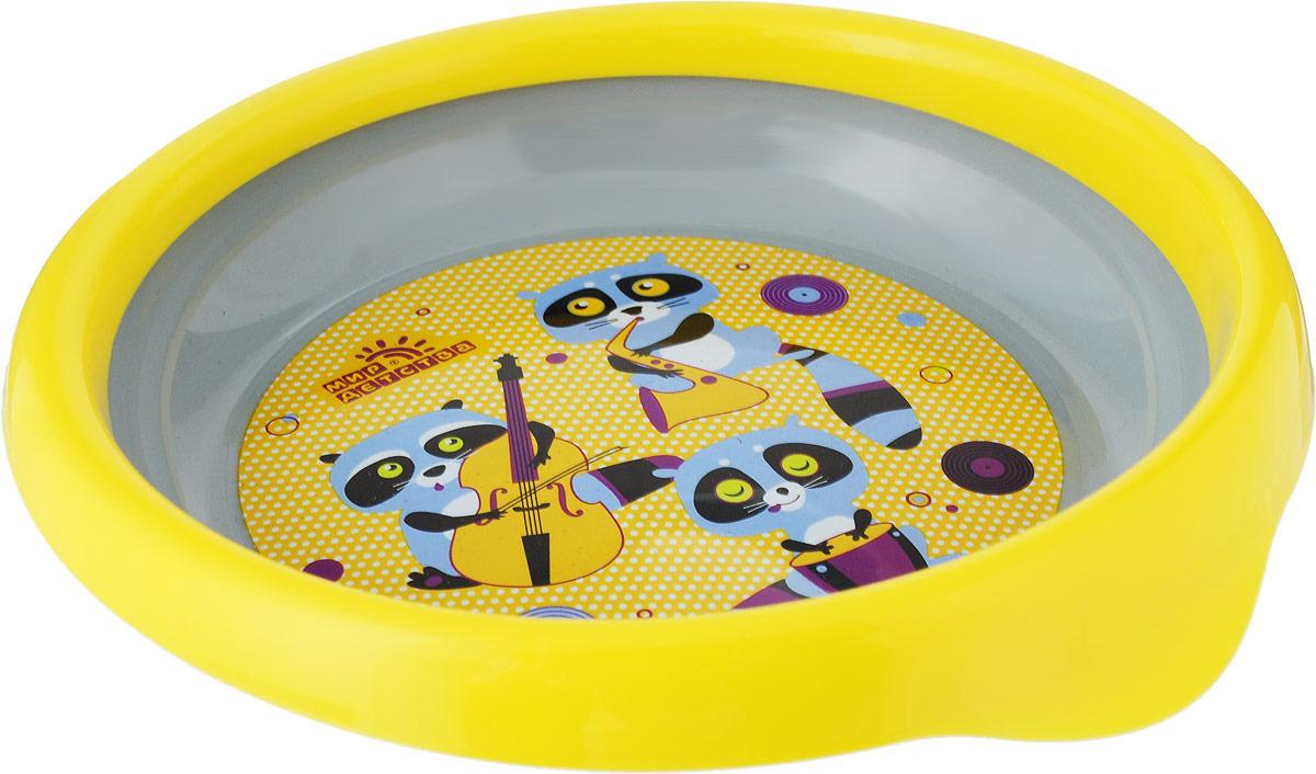 Тарелка детская Мир Детства Совы и еноты, для вторых блюд, 17370, желтый, серый
