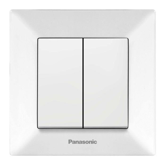 Выключатель Panasonic Выключатель 2 клавишный белый Arkedia, белый
