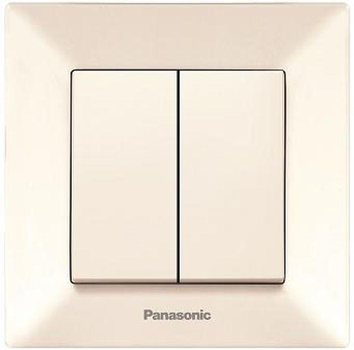 Выключатель Panasonic Выключатель 2 клавишный крем Arkedia, кремовый