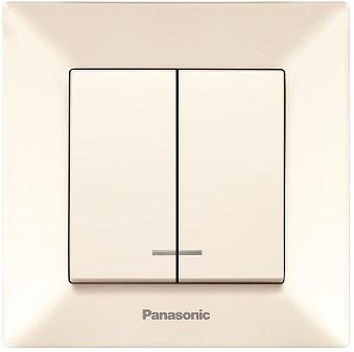 цена на Выключатель Panasonic Выключатель 2 клавишный с подсветкой крем Arkedia, кремовый