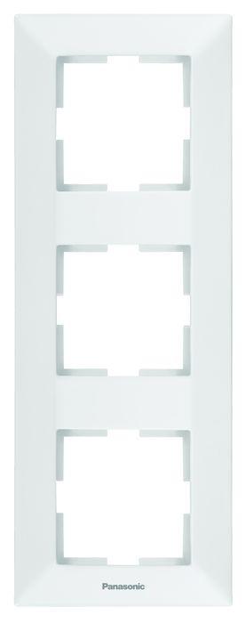 Рамка электроустановочная Panasonic Рамка 3-местная вертикальная белая Arkedia, белый