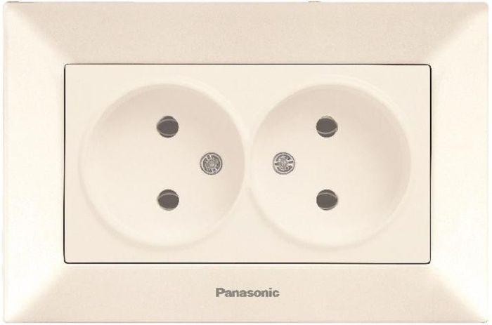 Розетка Panasonic Розетка 2 гнезда без заземления крем Arkedia, кремовый розетка abb bjb basic 55 шато 2 разъема с заземлением моноблок цвет чёрный
