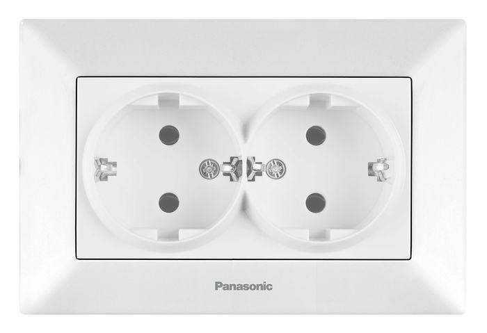 Розетка Panasonic Розетка 2 гнезда с заземлением белая Arkedia, белый