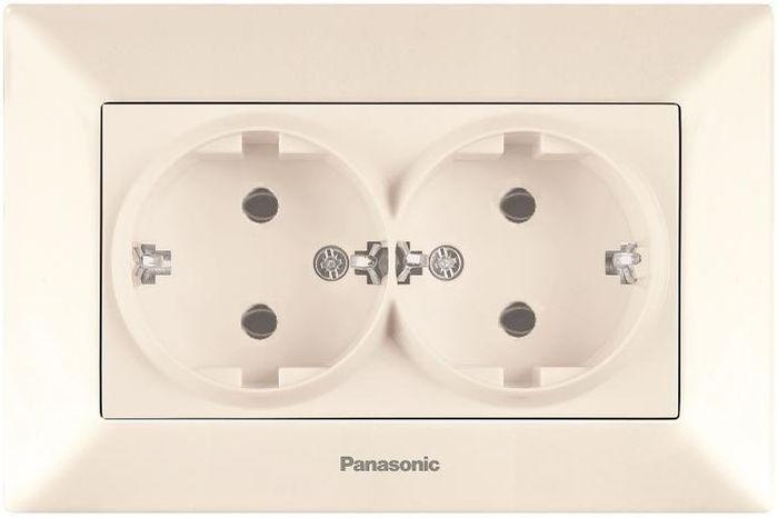 Розетка Panasonic Розетка 2 гнезда с заземлением крем Arkedia, кремовый