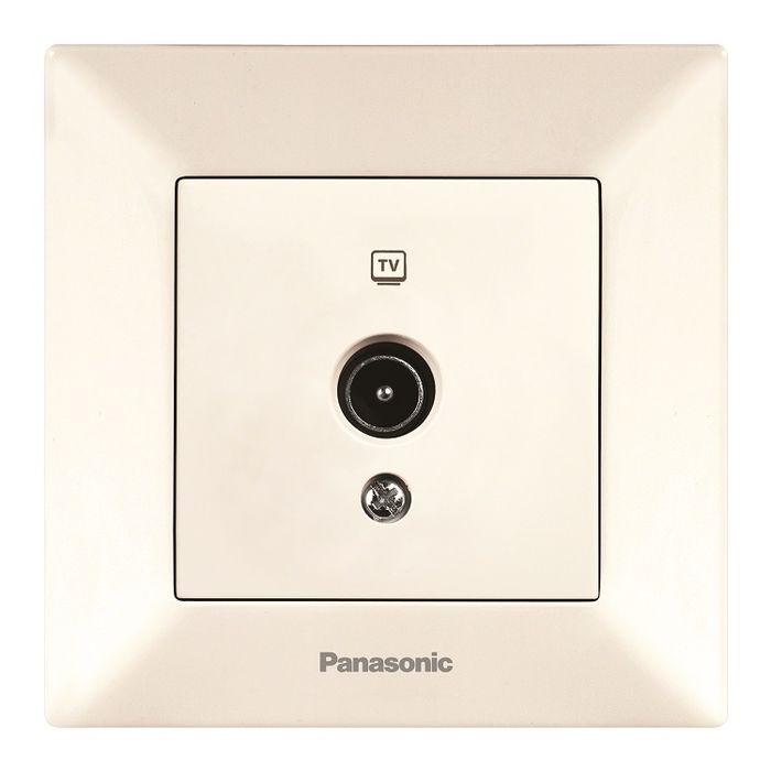 Розетка Panasonic Розетка TV концевая крем Arkedia, кремовый телефонная розетка abb bjb basic 55 шато 1 разъем цвет черный