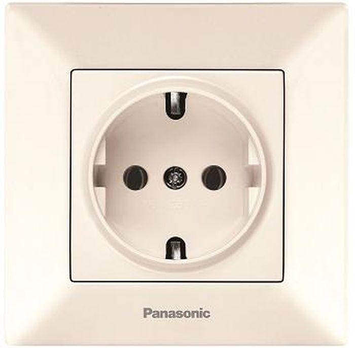 Розетка Panasonic Розетка с заземлением крем Arkedia, кремовый телефонная розетка abb bjb basic 55 шато 1 разъем цвет черный