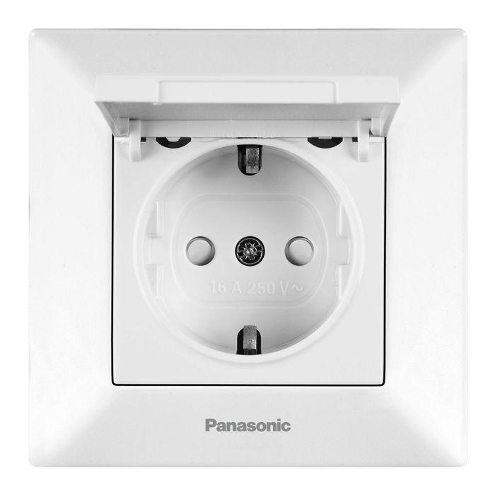 Розетка Panasonic Розетка с заземлением с крышкой белая Arkedia, белый