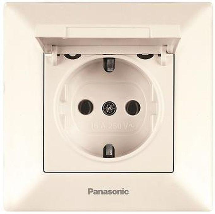 Розетка Panasonic Розетка с заземлением с крышкой крем Arkedia, кремовый