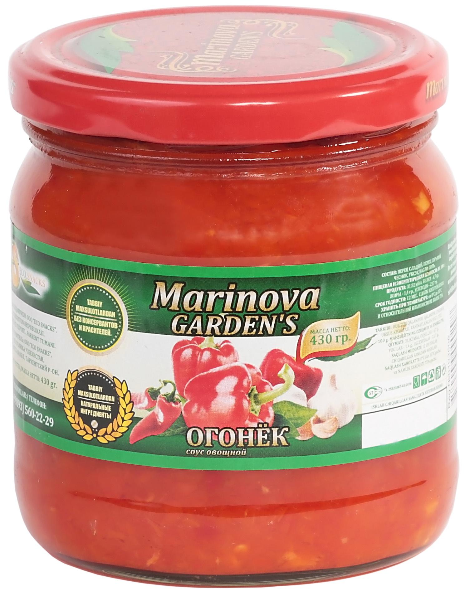 """Овощные консервы Marinova Garden Соус Огонек """"Премиум"""" 430 г. Стеклянная банка, 500"""