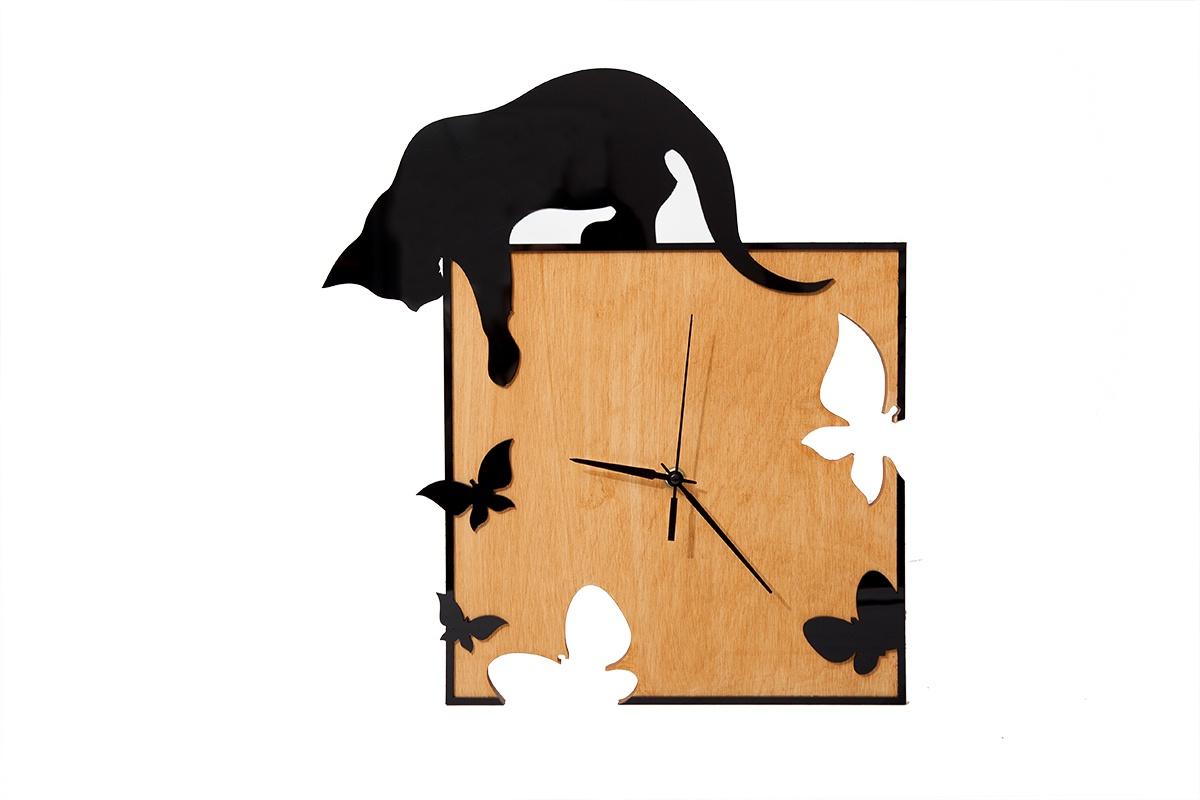 """Настенные часы Простые Предметы квадратные """"Киска и черные бабочки"""""""