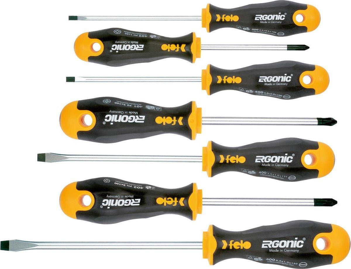 Набор отверток Felo, 7 штFEL-40097118Набор содержит отвертки с рукоятками ERGONIC - первые в мире рукоятки, которые адаптируется под руку пользователя, имеют гладкие бесшовные ручки для комфортной работы. Дизайн рукояток не позволяет инструменту скатываться с поверхности. На верхних частях рукояток указаны типы шлицов. Износостойкость изделий превышает технические требования DIN и ISO более, чем на 100 %. Состав набора: Серия 400 шлиц 3,5x100 / 4,0x100 / 5,5x125 / 6,5x150 Серия 401 PZ2x100 Серия 402 PH1x80 / PH2x100