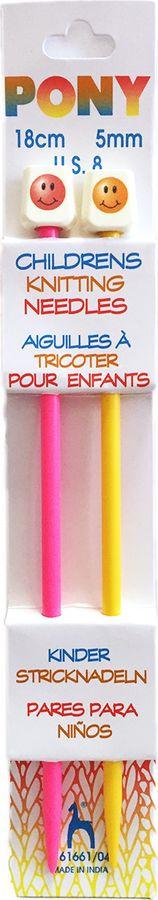 Фото - Спицы для вязания Pony, 61661/04, разноцветный, диаметр 5 мм, длина 18 см, 2 шт спицы прямые gamma металлические диаметр 5 мм длина 20 см 5 шт