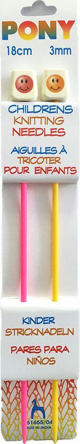 Спицы для вязания Pony, 61655/04, разноцветный, диаметр 3 мм, длина 18 см, 2 шт крючок для вязания pony диаметр 1 75 мм длина 14 см