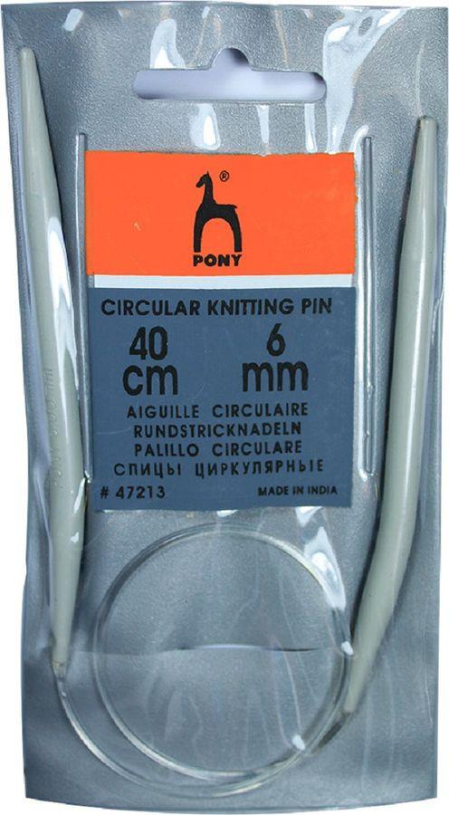 Спицы для вязания Pony, круговые, 47213, серый, диаметр 6 мм, длина 40 см, 2 шт крючок для вязания pony диаметр 1 75 мм длина 14 см