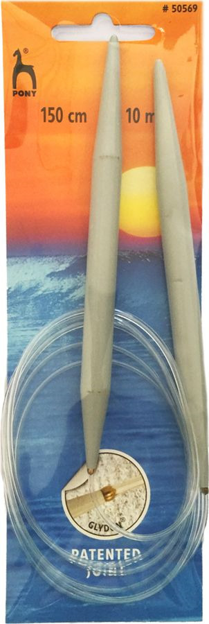Спицы для вязания Pony, круговые, 50569, серый, диаметр 10 мм, длина 150 см, 2 шт сантиметр рулетка pony 14 мм 150 см 98701