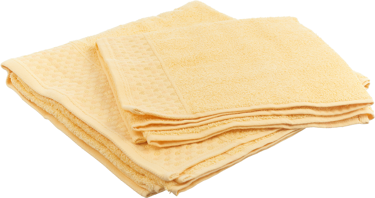 """Набор махровых полотенец Tete-a-tete """"Сердечки"""", цвет: желтый, 2 шт. УНП-104-01"""