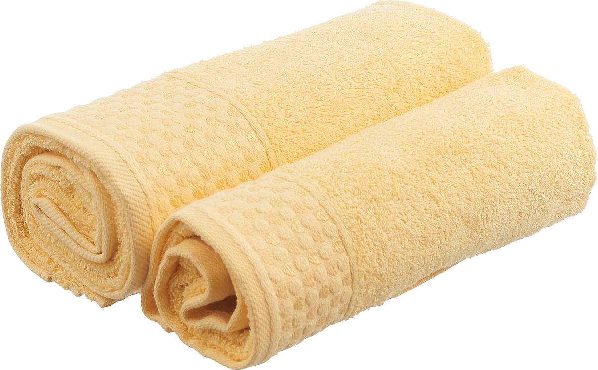 Набор махровых полотенец Tete-a-tete Сердечки, цвет: желтый, 2 шт. УНП-104-01к набор полотенец tete a tete сердечки цвет голубой 50 х 90 см 2 шт