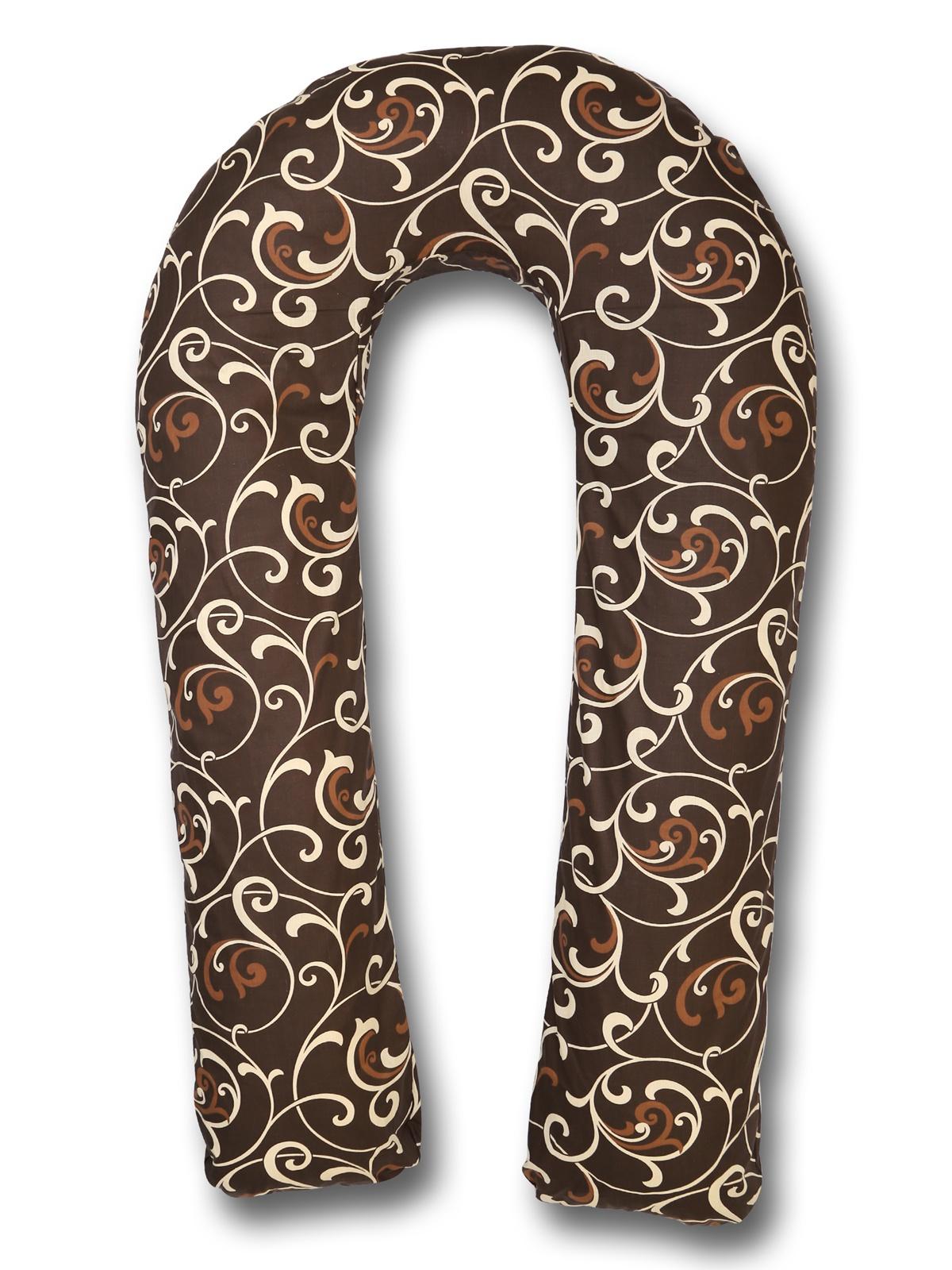 Подушка для кормящих и беременных BODY PILLOW форма U вензеля, коричневый