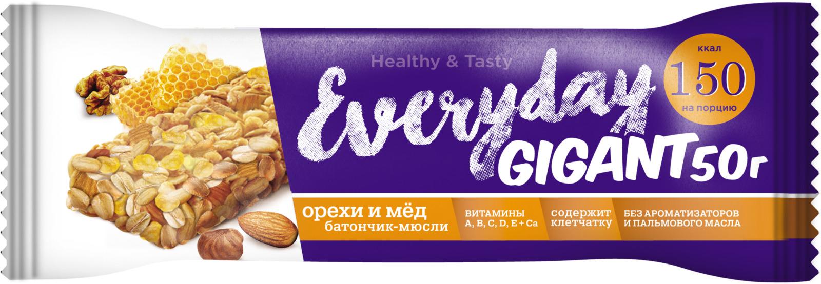 Батончик Everyday Gigant, орехи, мёд, 50 г цена в Москве и Питере