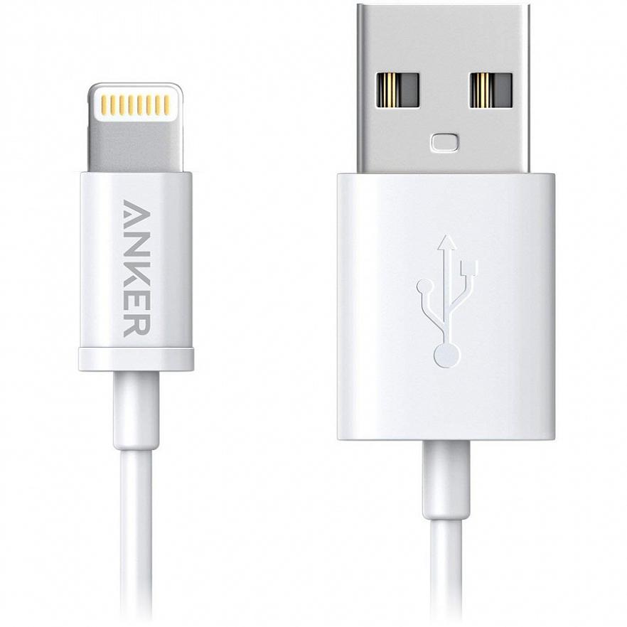 Кабель ANKER Powerline USB - Lightning, A7101H22, белый