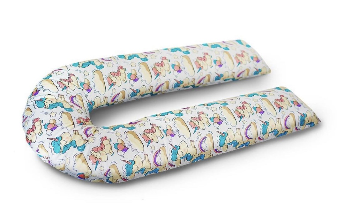 Подушка для кормящих и беременных бизиквест Подушка для беременных и кормления Единороги U-образная подушка для кормящих и беременных бизиквест бизиквест пд0012 вензеля бумеранг пд0012