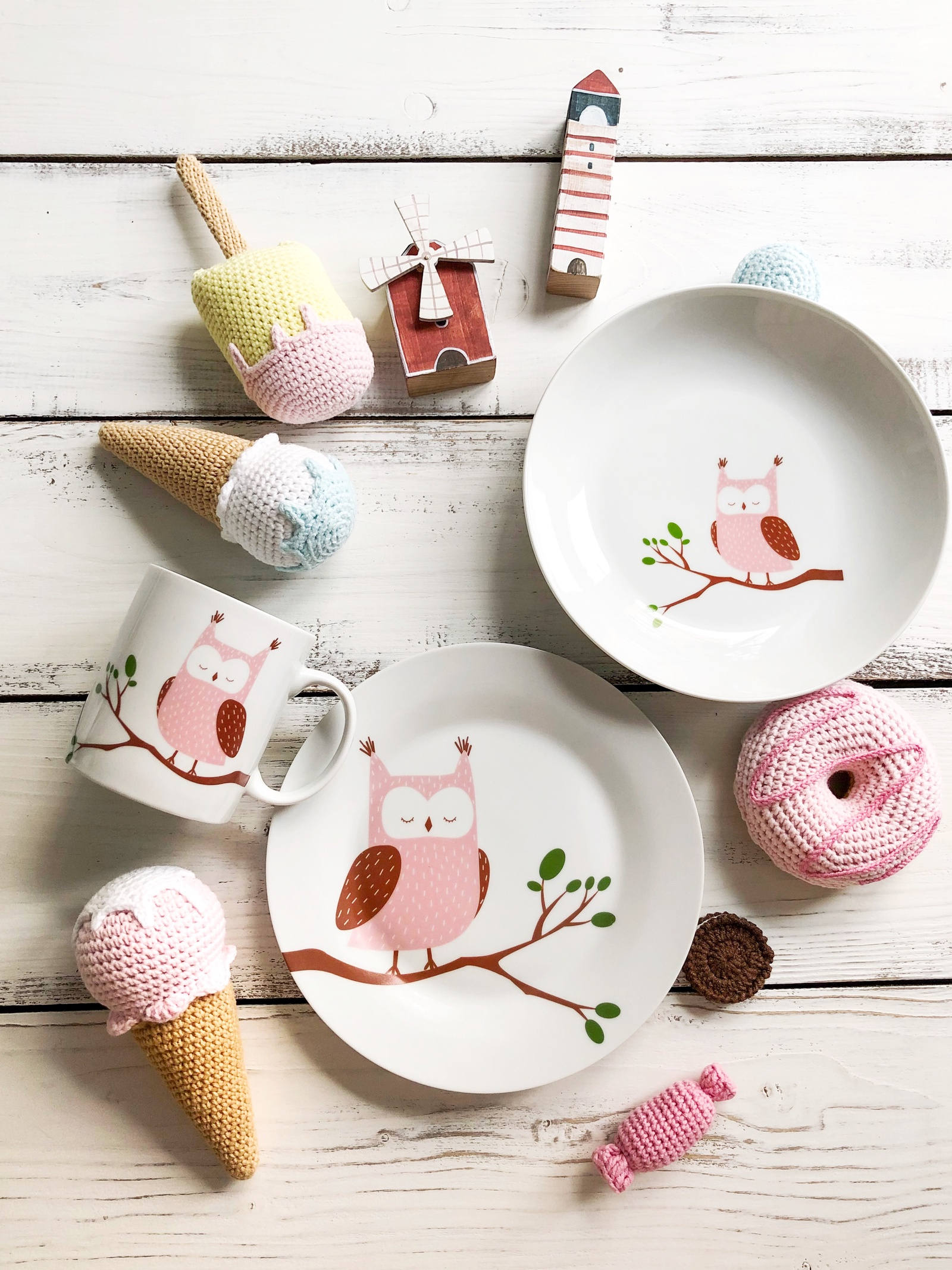 Набор столовой посуды Сотвори Чудо Набор посуды Совуша (3 в 1: кружка+тарелка+глубокая тарелка Sans Brides), белый тарелка мелкая сотвори чудо бантик sans brides диаметр 20 см