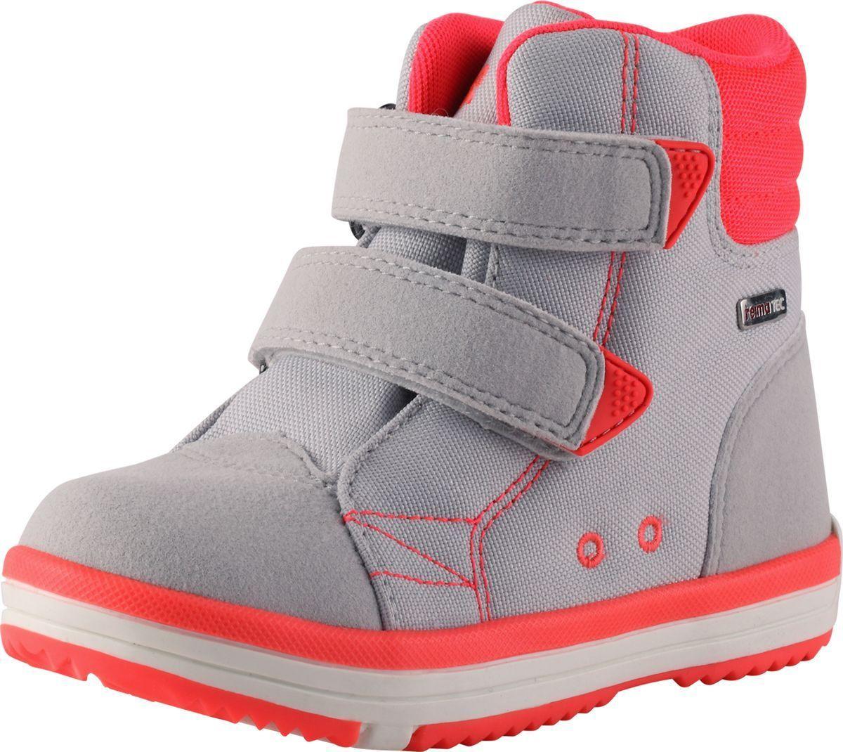 Ботинки детские Reima Patter, цвет: серый. 5693440310. Размер 355693440310Детские водонепроницаемые ботинки выполнены из микрофибры с грязеотталкивающим покрытием. Подкладка из Mesh-сетки с запаянными швами служит и защите от воды и холода, и тому, что в этих ботинках воздух может спокойно циркулировать, спасая ноги ребенка от перегревания. Съемные стельки помогают быстро просушить обувь, а рисунок Happy Fit облегчит правильный выбор размера. Застежки на липучках облегчают обувание и позволяют ребенку самому застегнуть их при необходимости. Рифленая гибкая подошва из термопластической резины обеспечивает надежную устойчивость. Средняя степень утепления. Уважаемые клиенты! Обращаем ваше внимание на то, что на модели с 28 размера предусмотрены три застежки-липучки.