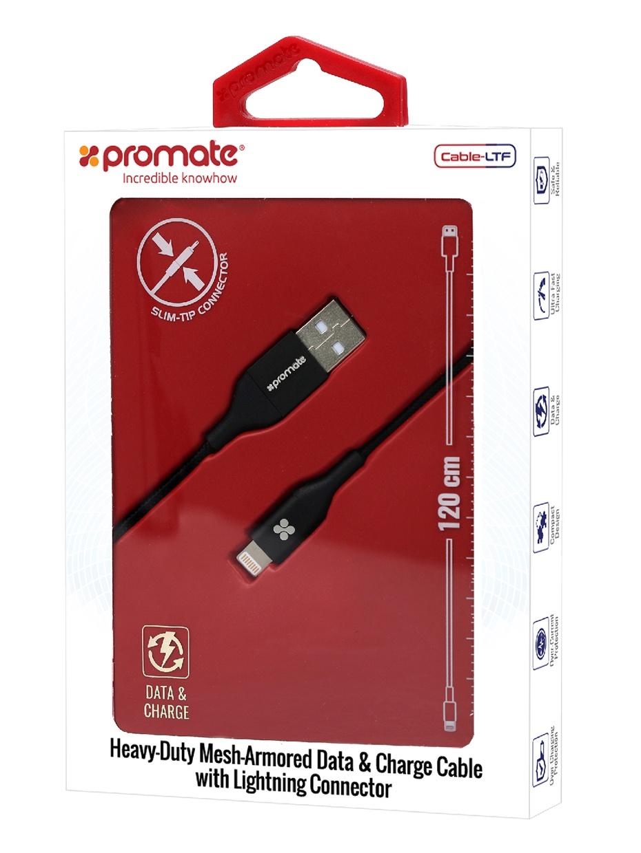 Кабель Promate Cable-LTF, черный переходник кабель interstep is dc crgnheasl 020b201 usb 2 0 lightning lightning мама 0 2 м для одновременной зарядки устройства и прослушивания музыки черный