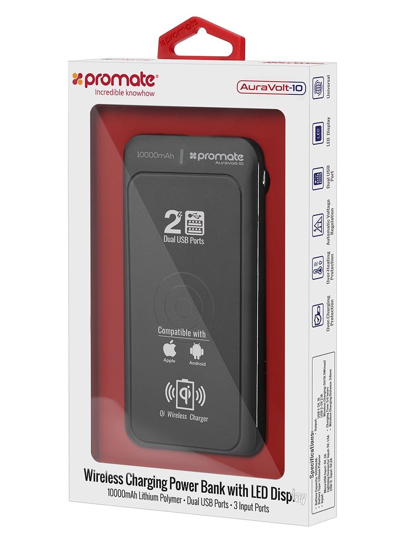 Внешний аккумулятор Promate AuraVolt-10, черный 2600mah power bank usb блок батарей 2 0 порты usb литий полимерный аккумулятор внешний аккумулятор для смартфонов светло зеленый
