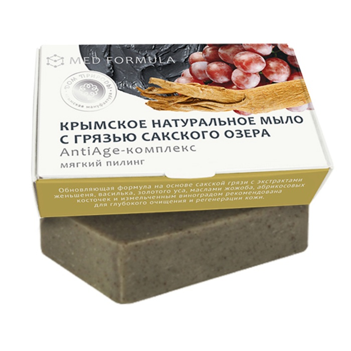 Мыло натуральное на основе грязи Сакского озера Дом природы MED formula АntiАge-комплекс, 100 гр Мануфактура Дом природы