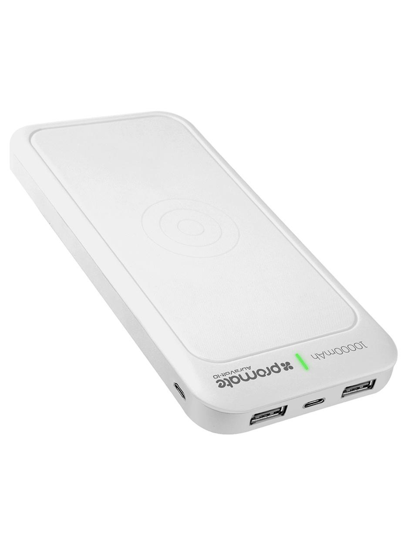 Внешний аккумулятор Promate AuraVolt-10, белый 2600mah power bank usb блок батарей 2 0 порты usb литий полимерный аккумулятор внешний аккумулятор для смартфонов светло зеленый