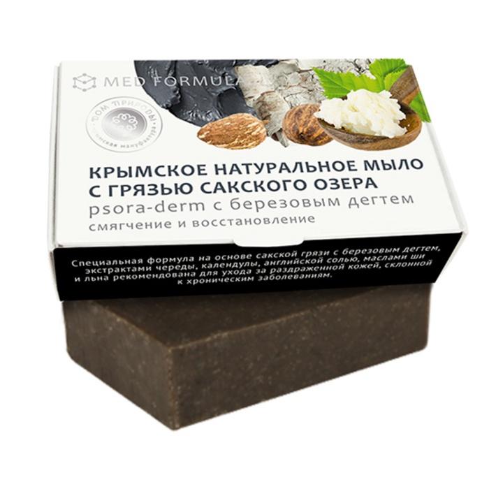 Мыло натуральное на основе грязи Сакского озера Дом природы MED formula Psora-Derm с березовым дегтем, 100 гр Мануфактура Дом природы