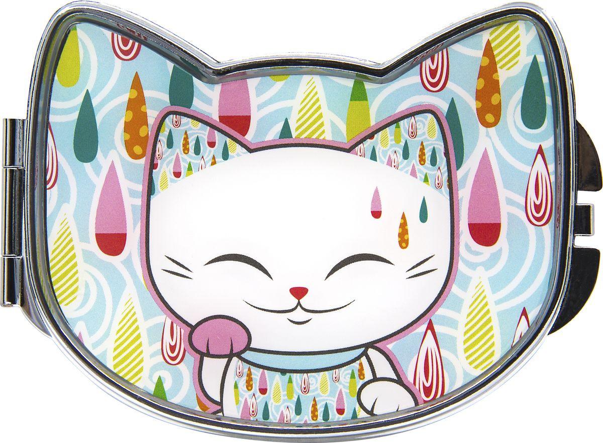 Зеркало карманное Mani The Lucky Cat, MF105, голубой, белый, 7,8 х 5,8 см