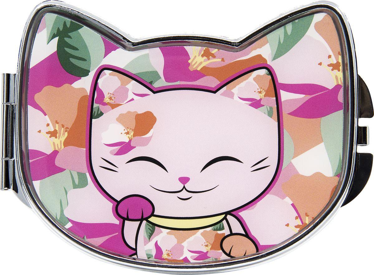Зеркало карманное Mani The Lucky Cat, MF106, розовый, 7,8 х 5,8 см