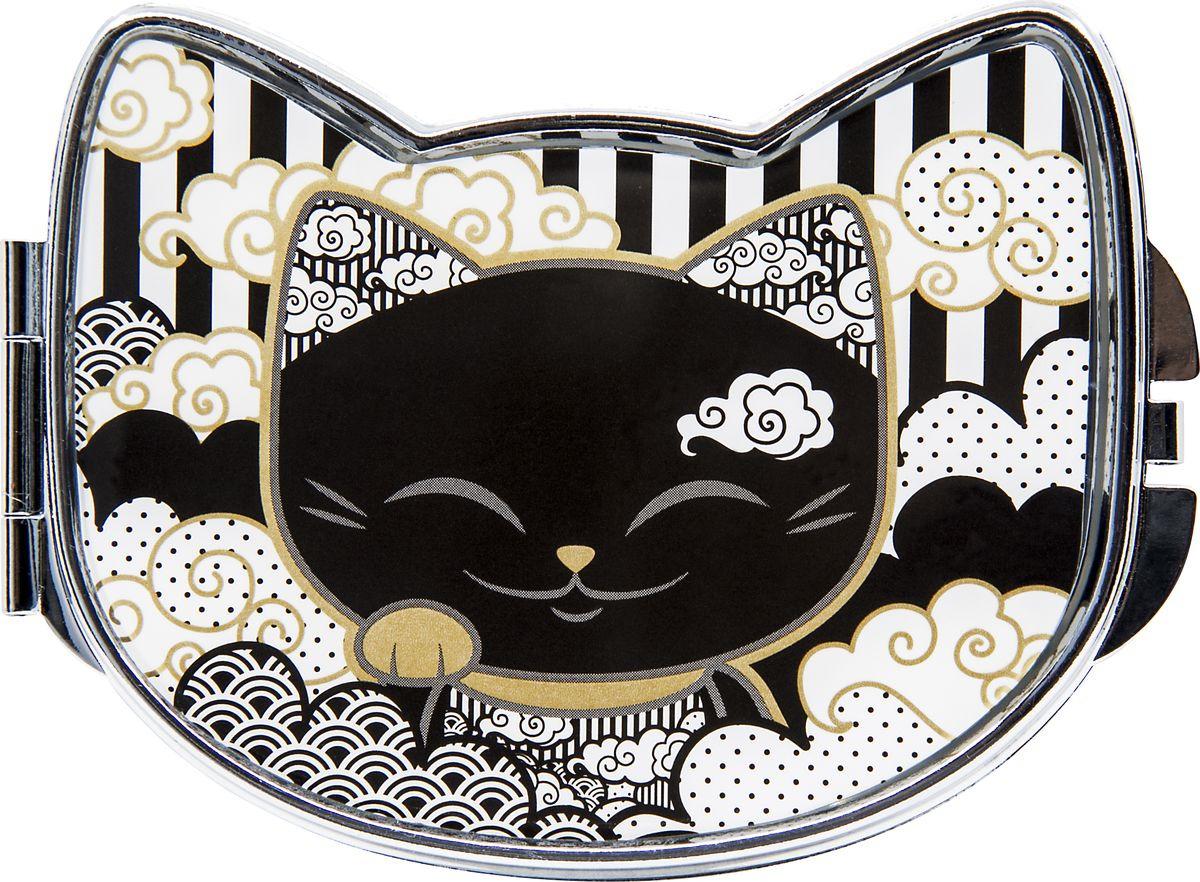 Зеркало карманное Mani The Lucky Cat, MF103, черный, белый, 7,8 х 5,8 см