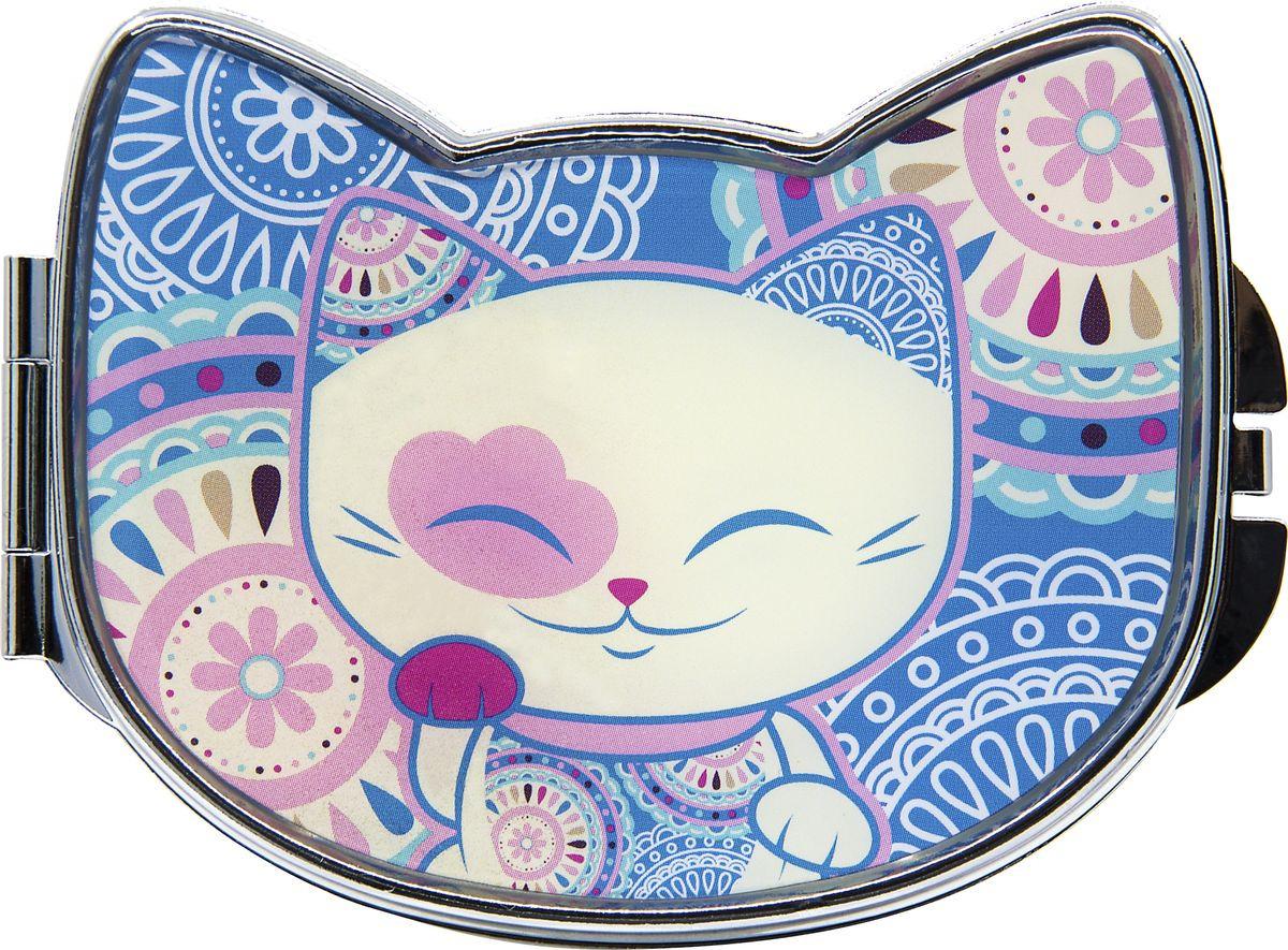 Зеркало карманное Mani The Lucky Cat, MF104, синий, белый, 7,8 х 5,8 см