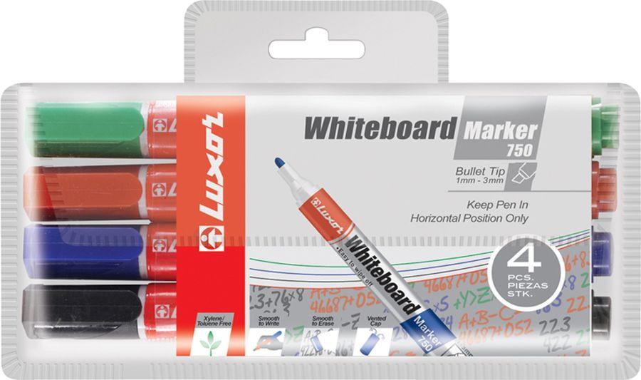 Набор маркеров для белых досок Luxor 750, 233847, 4 шт цена