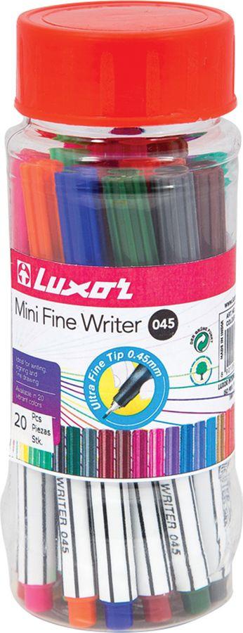 Набор капиллярных ручек Luxor Mini Fine Writer 045, 260574, 20 цветов набор капиллярных ручек luxor fine writer 045 246642 цвет чернил красный 10 шт
