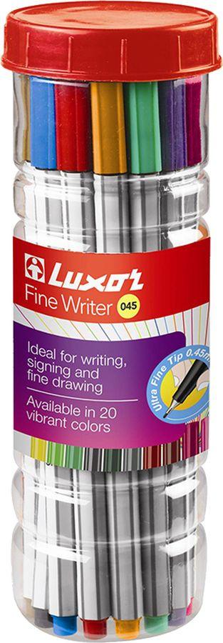 Набор капиллярных ручек Luxor Fine Writer 045, 246638, 20 цветов набор капиллярных ручек luxor fine writer 045 246642 цвет чернил красный 10 шт